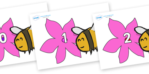 Numbers 0-50 on Bees - 0-50, foundation stage numeracy, Number recognition, Number flashcards, counting, number frieze, Display numbers, number posters