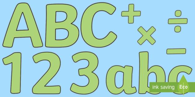 Cursive Display Lettering Symbols Pastel Green