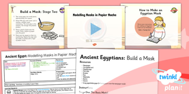 Art: Ancient Egypt: Modelling Masks in Papier Mache UKS2 Lesson Pack 5