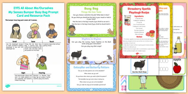 All About Me/Ourselves - My Senses Bumper Busy Bag and Prompt Card Pack