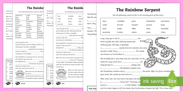 The Rainbow Serpent Cloze Differentiated Worksheet / Activity Sheets