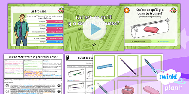 French: Our School: What's in Your Pencil Case? Year 3 Lesson Pack 2
