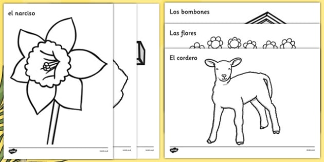 Easter Colouring Images Spanish - spanish, Easter, colouring poster, colouring, fine motor skills, activity, Easter, bible, egg, Jesus, cross, Easter Sunday, bunny, chocolate, hot cross buns