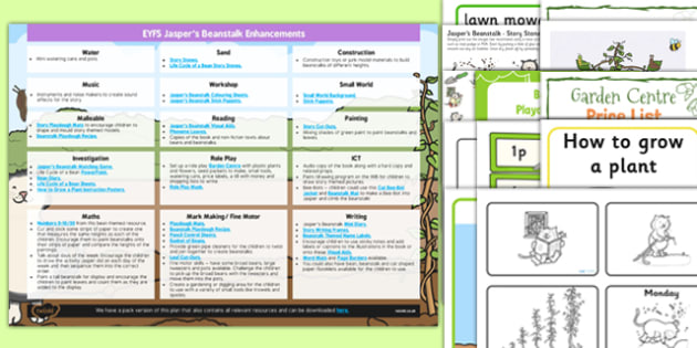 EYFS Enhancement Ideas and Resources Pack to Support Teaching on Jasper's Beanstalk - Early Years, continuous provision, early years planning, adult led, Jasper's Beanstalk, Nick Butterworth and Mick Inkpen, plants and growth, planning