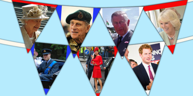 Royal Family Photo Display Bunting - queen, royal family, flags