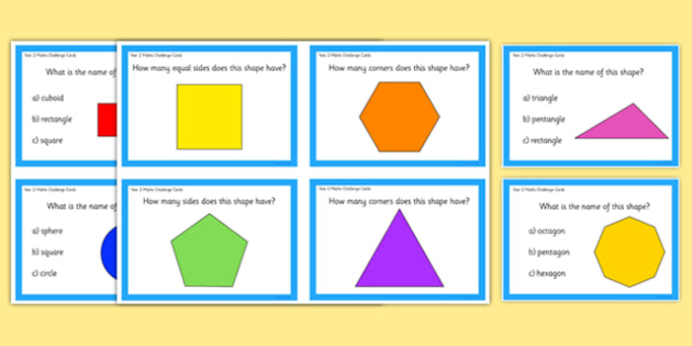 Year 2 Shapes Maths Challenge Cards - year 2, shapes, maths, challenge cards, numeracy, cards, challenge