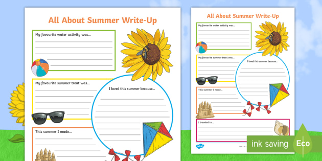 ks2 summer holiday write up worksheet seaside holidays recounts back to. Black Bedroom Furniture Sets. Home Design Ideas