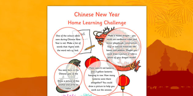 Chinese New Year EYFS Home Learning Challenges Reception FS2 - EYFS planning, early years activities, homework, festival, celebration