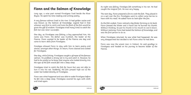 Fionn and the Salmon Of Knowledge Printable Story Sheet - Irish history