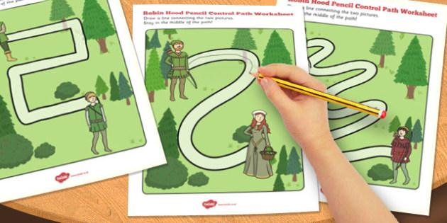 Robin Hood Pencil Control Path Worksheets - robin hood, sheet