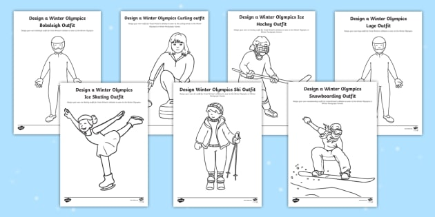 ks1 design the winter olympics sport outfits activity pack. Black Bedroom Furniture Sets. Home Design Ideas