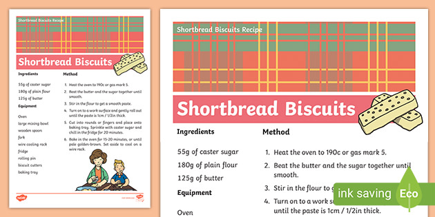 Shortbread Recipe Cards Teacher Made