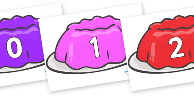 Numbers 0-31 on Jelly - 0-31, foundation stage numeracy, Number recognition, Number flashcards, counting, number frieze, Display numbers, number posters