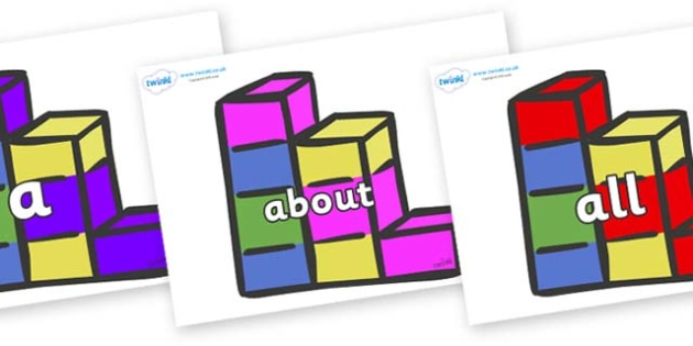 100 High Frequency Words on Building Blocks - High frequency words, hfw, DfES Letters and Sounds, Letters and Sounds, display words