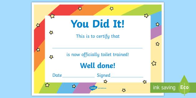 Potty Training Certificate Teacher Made