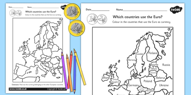 Colour in the Euro Countries Worksheet - europe, geography, euros