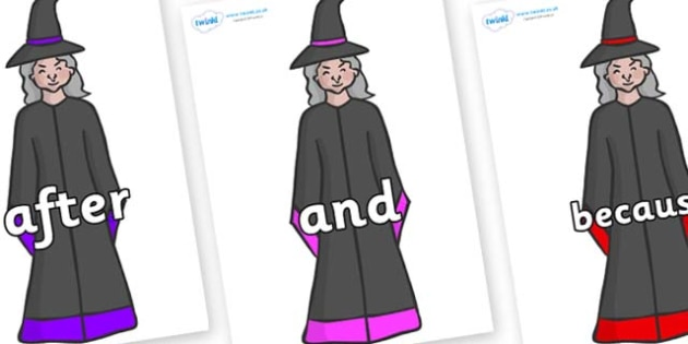 Connectives on Witches - Connectives, VCOP, connective resources, connectives display words, connective displays