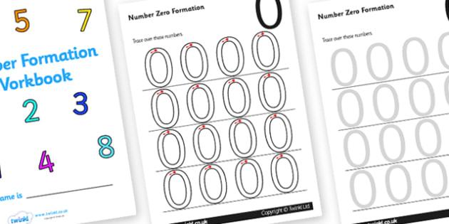 0-9 Number Formation Workbook - number formation workbook, number writing practise sheets, writing numbers, number writing guides, number formation, help, overwriting