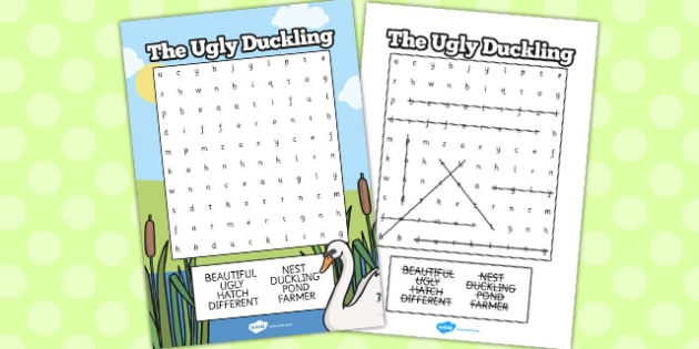 Ugly Duckling Wordsearch - wordsearch, ugly duckling, story, word