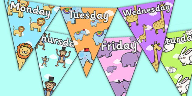 Cute Animals Days of the Week Bunting -  cute animals, days of the week bunting, animal bunting, animal days of the week bunting, bunting