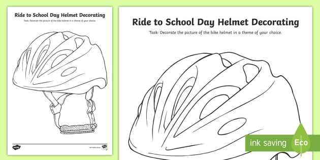 Ride To School Day Helmet Decorating Worksheet Bike Safety Road