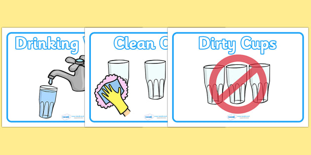 Drinking Water Signs - Water, drinking water, water area, snack time, health, clean, used cups, cup, washing hands, wash hands