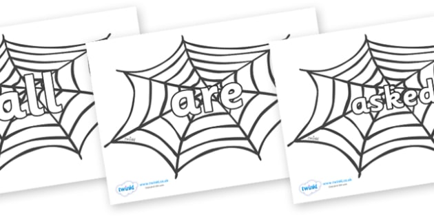 Tricky Words on Spiders Web - Tricky words, DfES Letters and Sounds, Letters and sounds, display, words