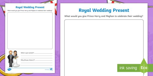 Design A Royal Wedding Gift Worksheet Present Prince Harry And Meghan