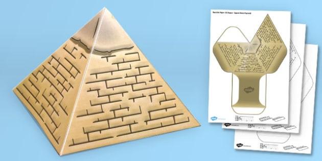 Real Life Object 3D Shape Net Square Based Pyramid - craft, shape