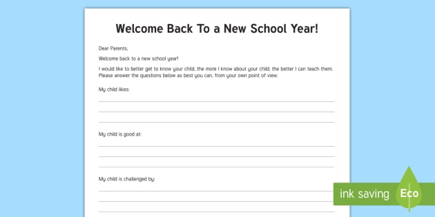 welcome to school letter