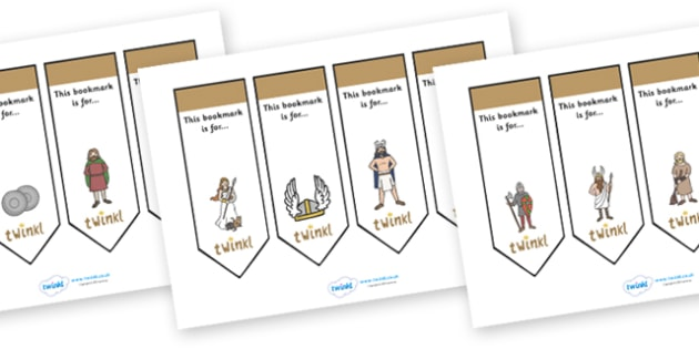 Editable Bookmarks (Vikings) - Vikings, Bookmark, bookmark template, gift,  present, book, reward, achievement, longship, Viking, Viking Age, England, Norway
