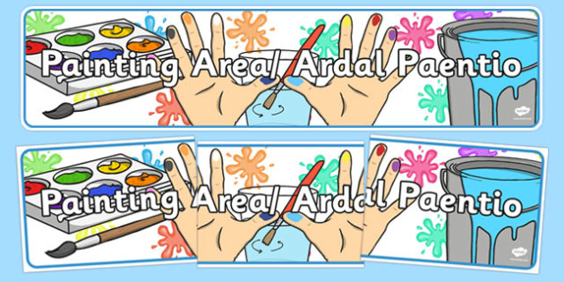 Bilingual Banner for Painting Area - welsh, cymraeg, Painting Area, Display Banner, Foundation Phase