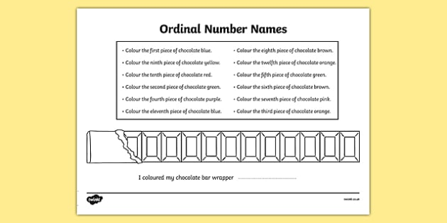 Ordinal Number Chocolate Bar Colouring Worksheet - ordinal numbers, chocolate bar, colouring, colour