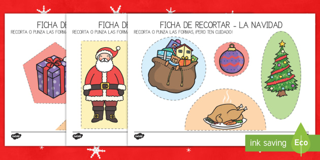 Ficha de motricidad fina..recortar: La Navidad-Spanish - tijera, punzón, punzar, recortar, navidad, navideño, navideña,Spanish