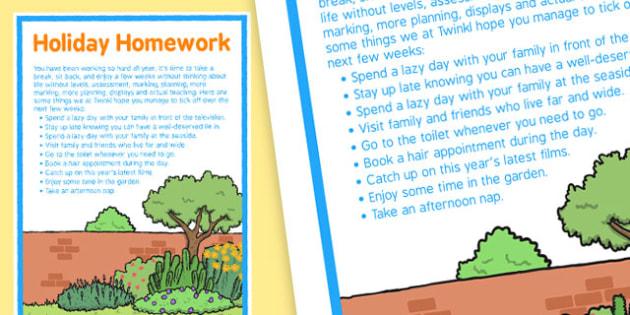 Holiday Homework for Staff Checklist