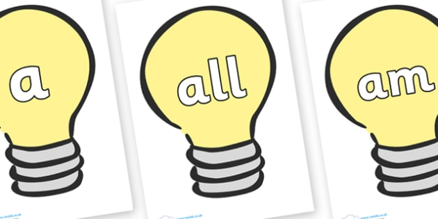 Foundation Stage 2 Keywords on Light Bulbs (Plain) - FS2, CLL, keywords, Communication language and literacy,  Display, Key words, high frequency words, foundation stage literacy, DfES Letters and Sounds, Letters and Sounds, spelling