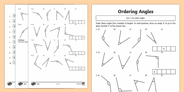 Year 4 Ordering Angles Differentiated Worksheet - Australia