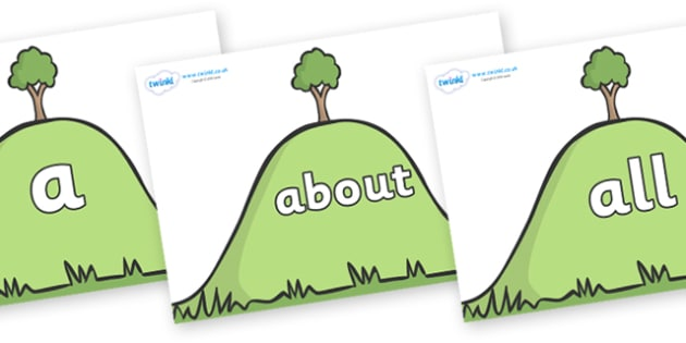 100 High Frequency Words on Hills - High frequency words, hfw, DfES Letters and Sounds, Letters and Sounds, display words