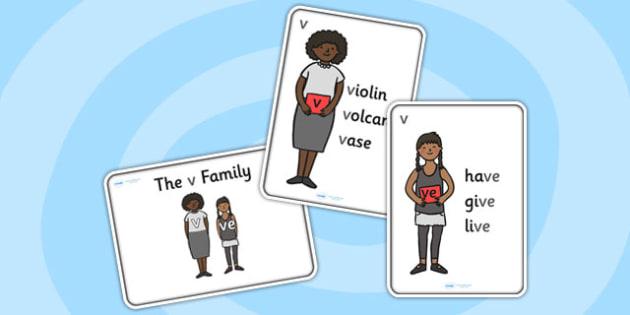 v Sound Family Member Posters-v, v sound, sound families, v sound family, sound posters, v sound poster, poster, sounds, letters, words, literacy, english