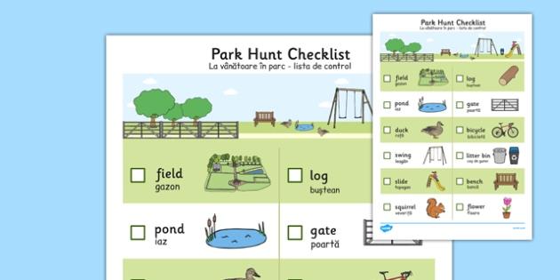 Park Hunt Checklist Romanian Translation - romanian, park, hunt, checklist, check, list, activity