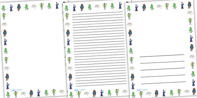 Fantasy Page Borders Portrait - fantasy, page borders, borders, writing frame, writing template, writing aid, line guides, writing guides, guide, literacy