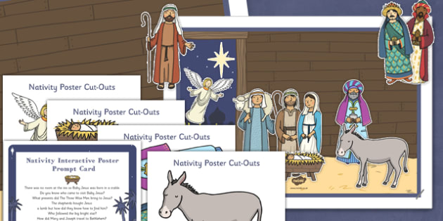 Nativity Scene Interactive Poster and Prompt Card Pack - nativity, scene, interactive, poster, prompt, card