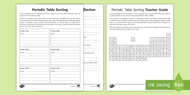 new periodic table sorting activity sheet chemistry atoms molecules matter - Periodic Table Discovery Activity