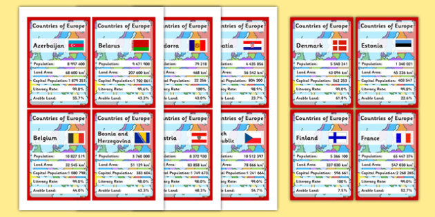European Countries Card Game - cards, countries