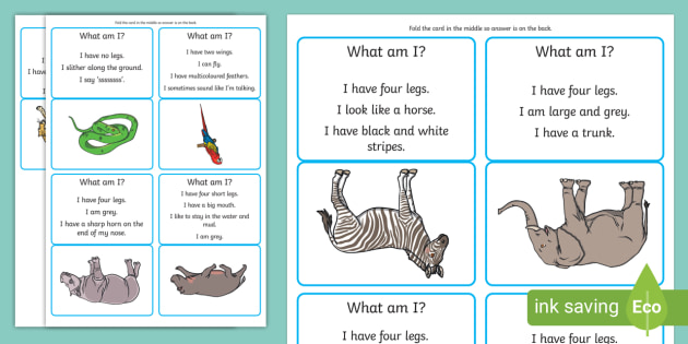 What Am I Wild Animals Guessing Game Teacher Made