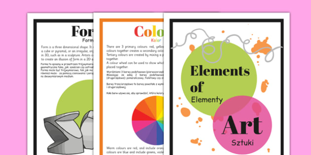 Elements of Art Display Posters Polish Translation - Polish, Poland, EAL,  bilingual, art, art and design, design, line, colour, texture, shape, form, space, value, tone, size, vocabulary