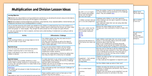 KS1 Multiplication and Division Lesson Ideas - multiplication, division, lesson, ideas