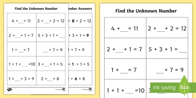 unknown numbers ks1 worksheet activity sheet algebra. Black Bedroom Furniture Sets. Home Design Ideas