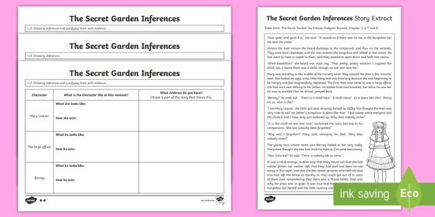 The Secret Garden Inferences Worksheet Activity Sheets Secret