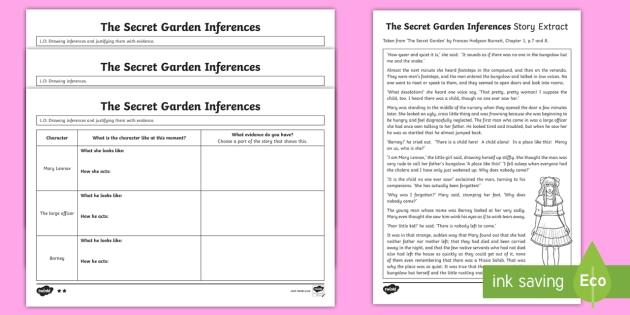 editable the secret garden inferences activity sheets. Black Bedroom Furniture Sets. Home Design Ideas